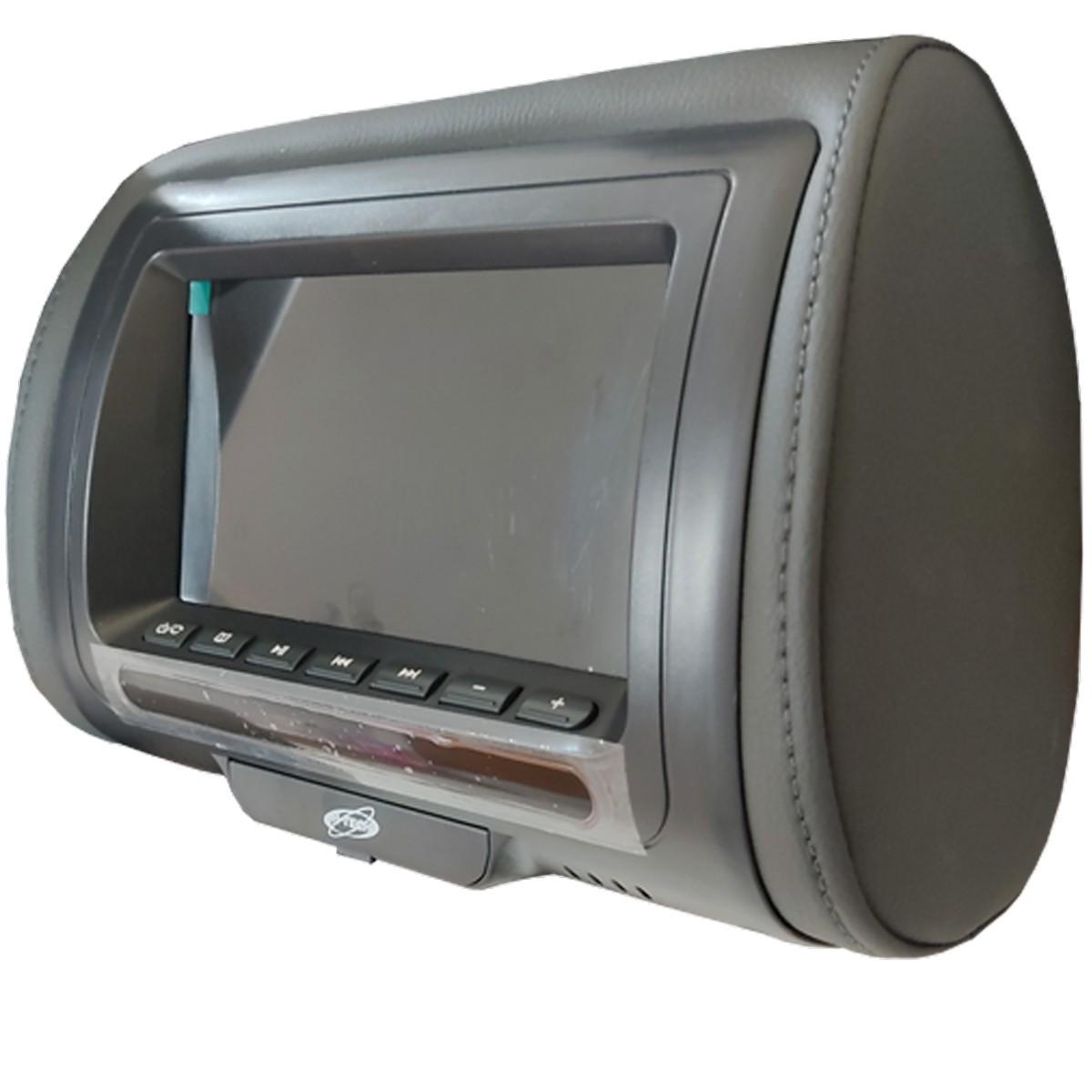 Encosto de Cabeça 7 Polegadas LCD USB SD Card MP3 MP4 H-Tech Grafite