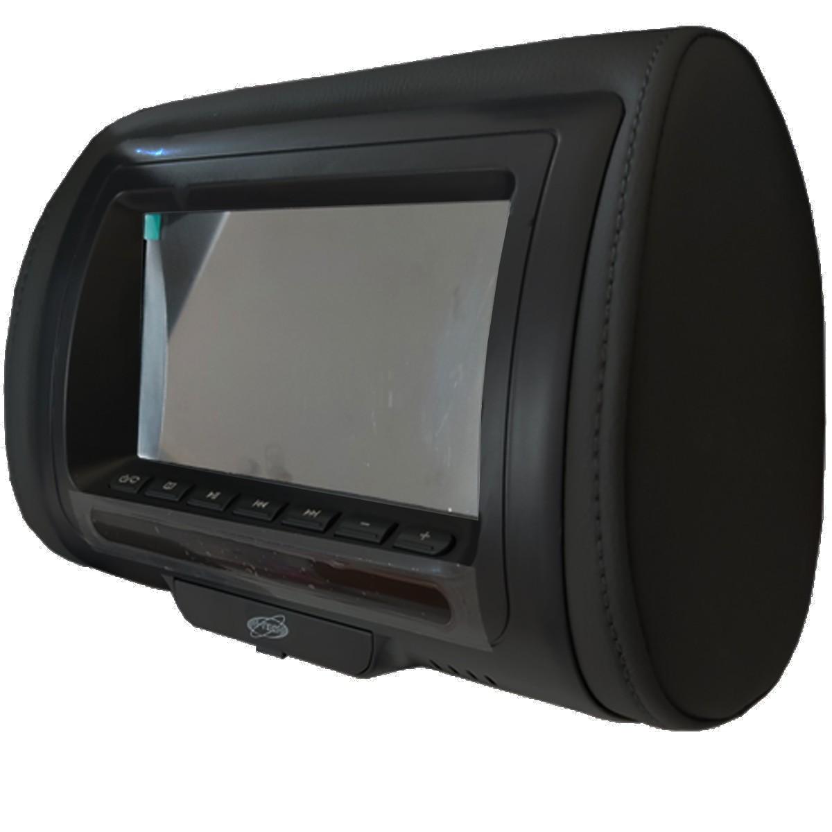 Encosto de Cabeça 7 Polegadas LCD USB SD Card MP3 MP4 H-Tech Preto