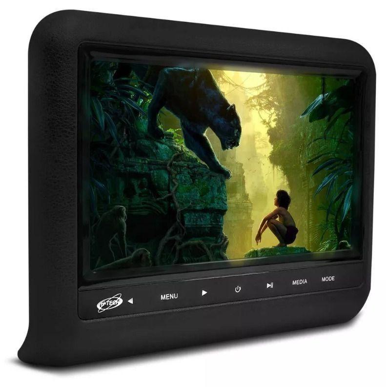 Tela Encosto de Cabeça 9 Polegadas Acoplável Preto DVD USB SD Fone Função Game com Controle Remoto