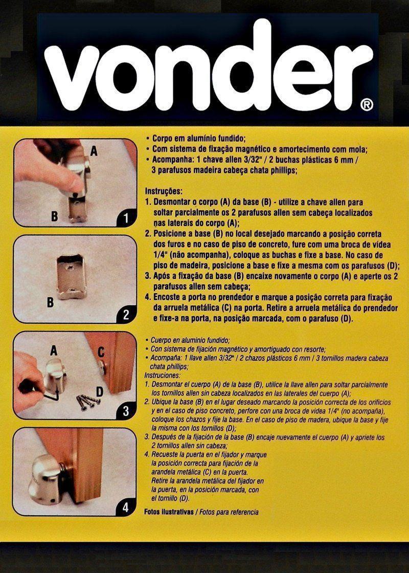 Fixador Prendedor De Porta Magnético Vonder Com Mola