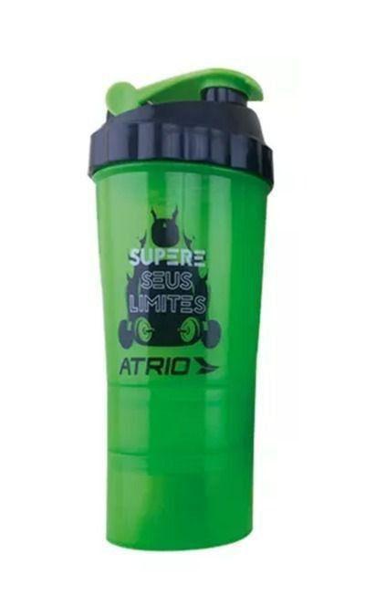 Garrafa Shaker Atrio Com 2 Compartimentos Preto Verde Es062