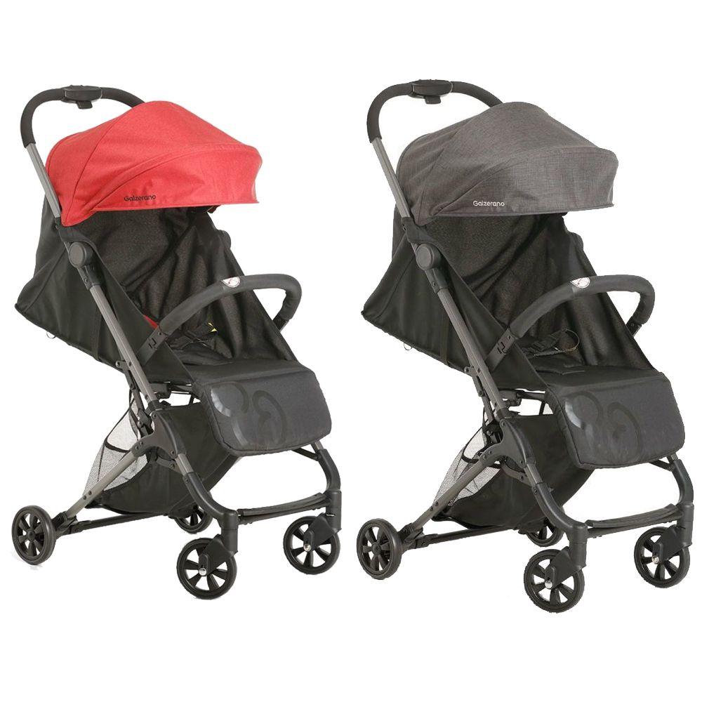 Kit 2 Carrinhos Bebê Galzerano Berço Passeio Encosto Regulável Peso 0 até 15 kg Duolee Preto + Vermelho