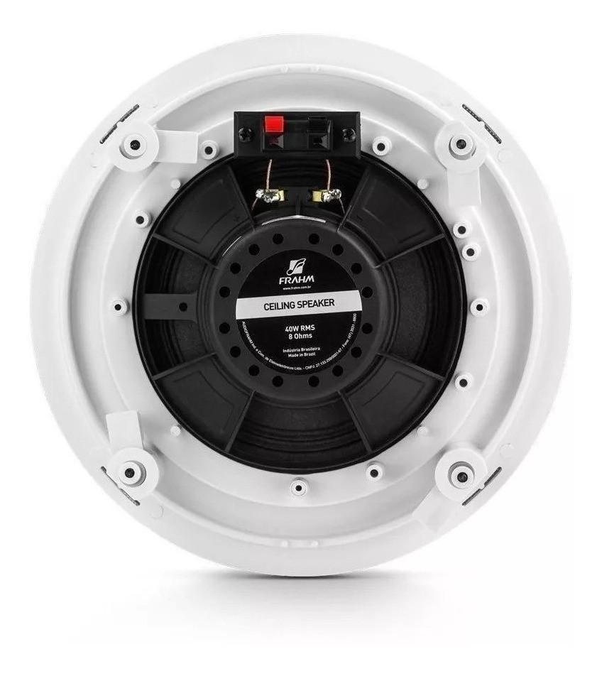 """Kit 8 Arandela Redonda 6"""" Full Range Embutir Borderless 40W RMS Som Ambiente Frahm"""