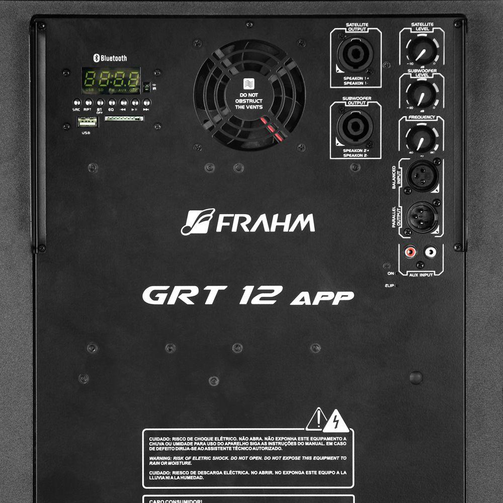 Kit Caixa de Som GRT 12 App Satélite Torre Vertical Sub Ativa 500Wrms Frahm