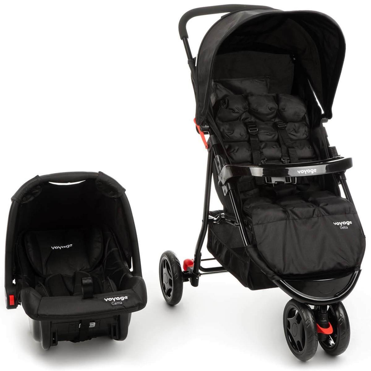Kit Carrinho de Bebê Delta + Bebê Conforto Gama Preto Travel System - Voyage