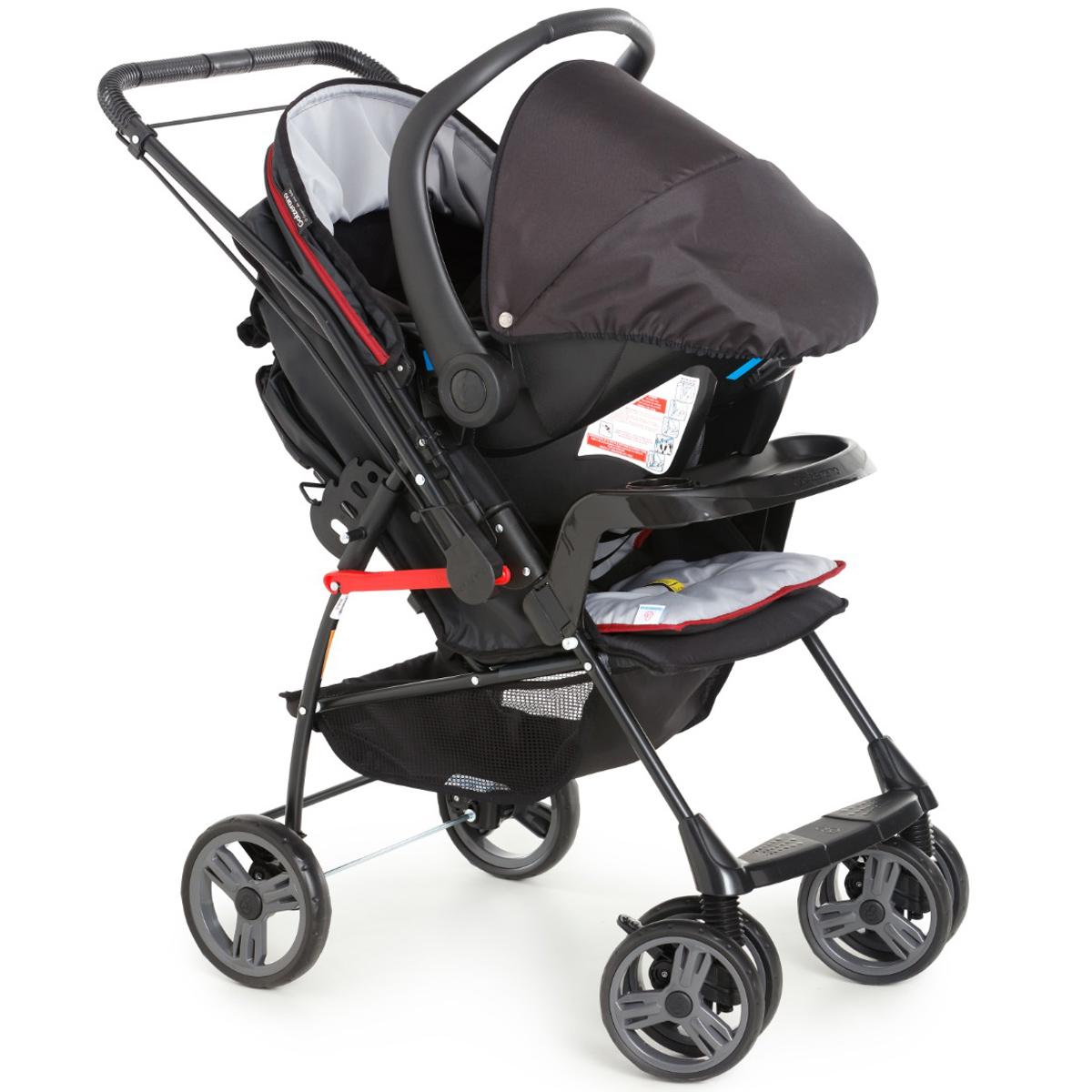 Kit Carrinho de Bebê Galzerano Até 15Kg Passeio Berço Alça Reversível Milano Preto + Bebê Conforto Cocoon