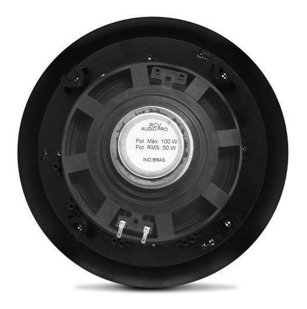 Kit Receiver Amplificador Frahm Slim 2000 App + 2 Arandelas Redondas Preta 50w