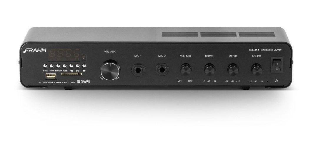 Kit Receiver Amplificador Frahm Slim 2000 App + 4 Arandelas Redondas Preta 50w