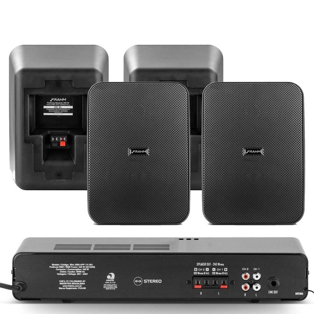 "Kit Receiver Slim 3500App G2 + 4 Caixa Passiva HSL "" Preta 280w"