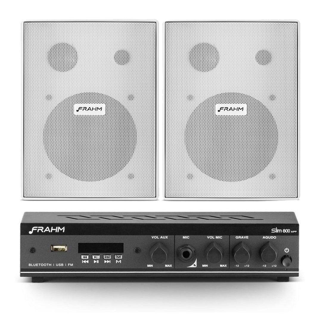 Kit Sonorização Slim 800 APP + 2 Caixas PS200 NEW Branca