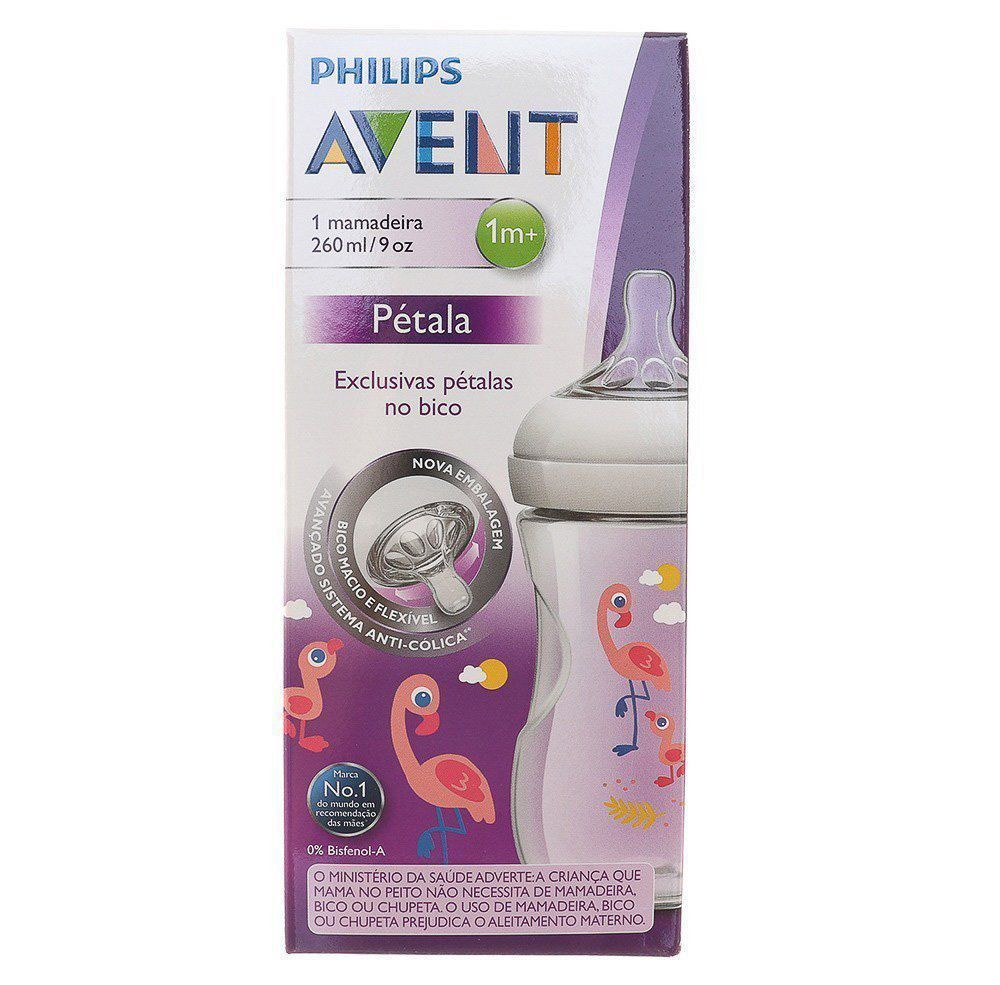 Mamadeira Pétalas Decorada Flamingo Philips Avent 1m+ 260ml