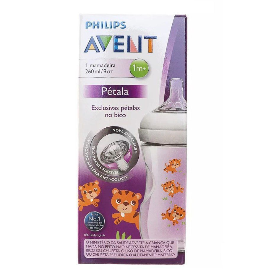 Mamadeira Pétalas Decorada Tigre Philips Avent 1m+ 260ml