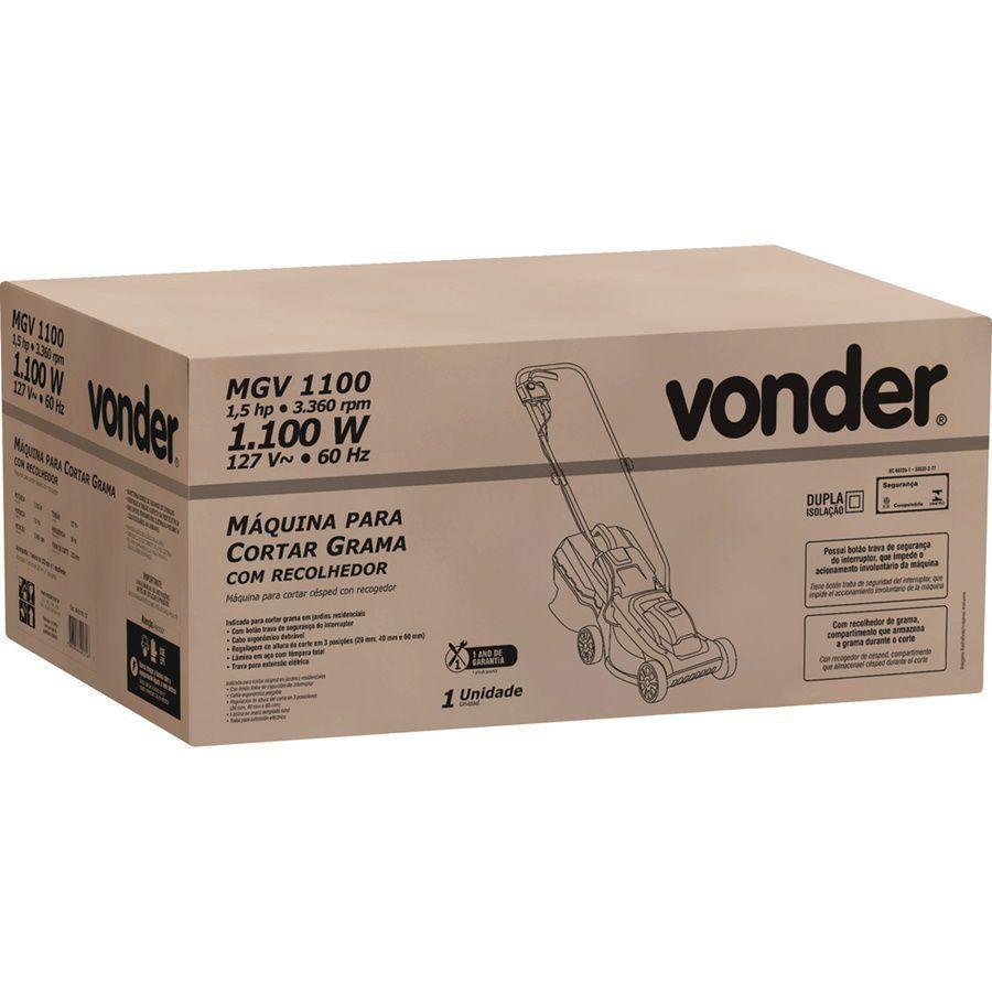 Máquina Para Cortar Grama Elétrica 127V Aparador Com Recolhedor Vonder Mgv1100