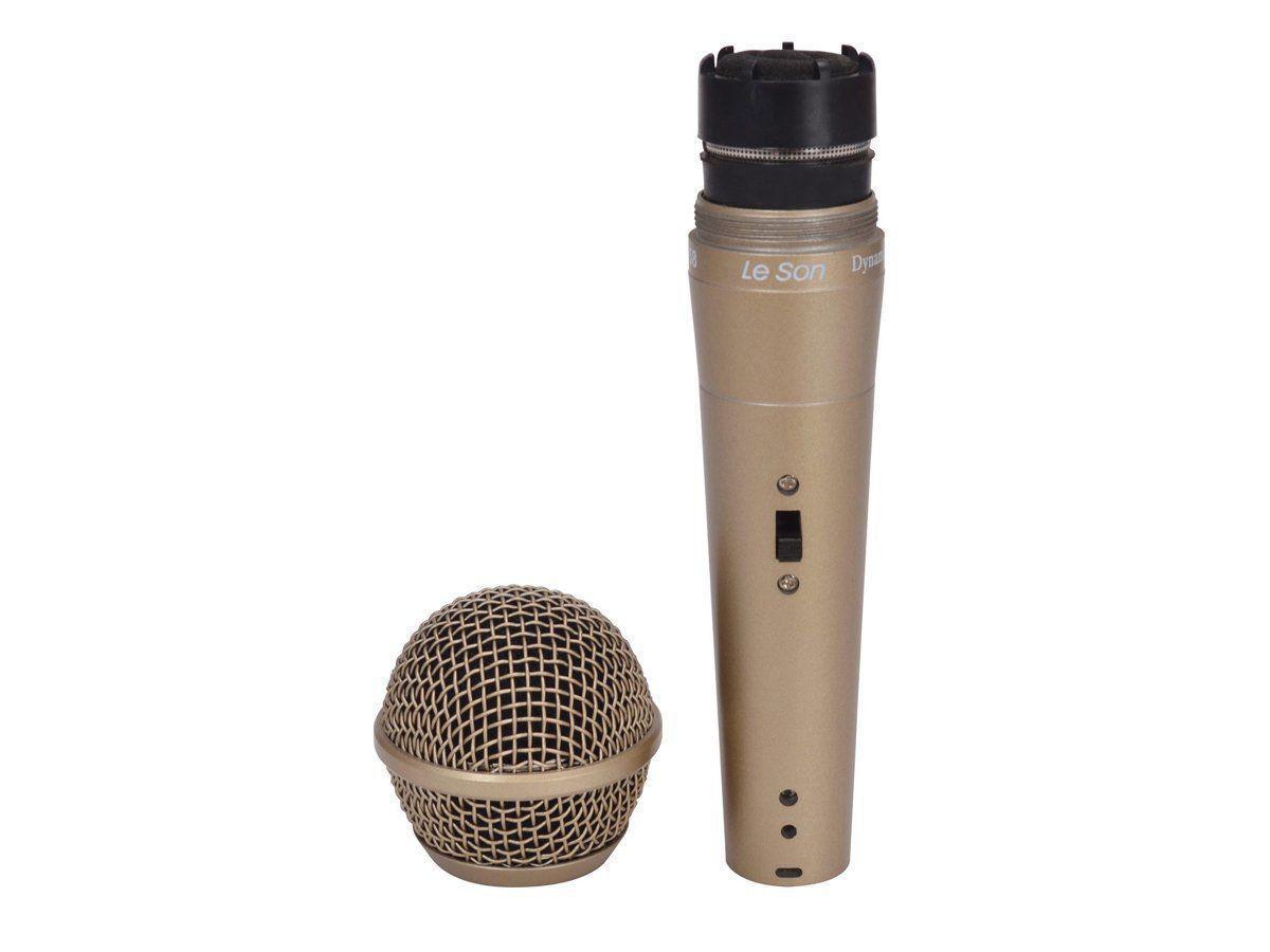 Microfone Com Fio SM-58 P4 Dinâmico Champanhe LeSon