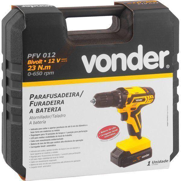 Parafusadeira e Furadeira a Bateria com Carregador Vonder PFV012