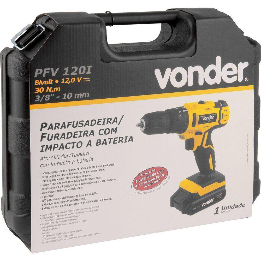 Parafusadeira Furadeira Impacto 12v Vonder 2 Baterias Bivolt
