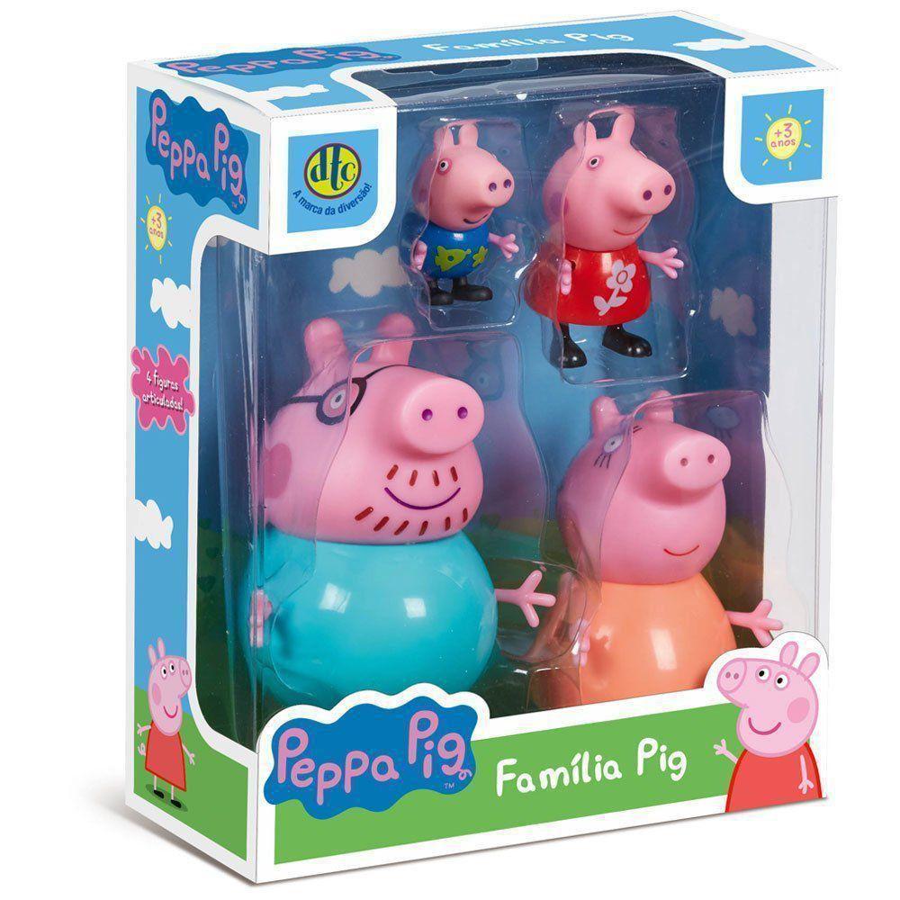 Peppa Pig E Família 4 Figuras Peppa George Mamãe Papai Dtc 4856