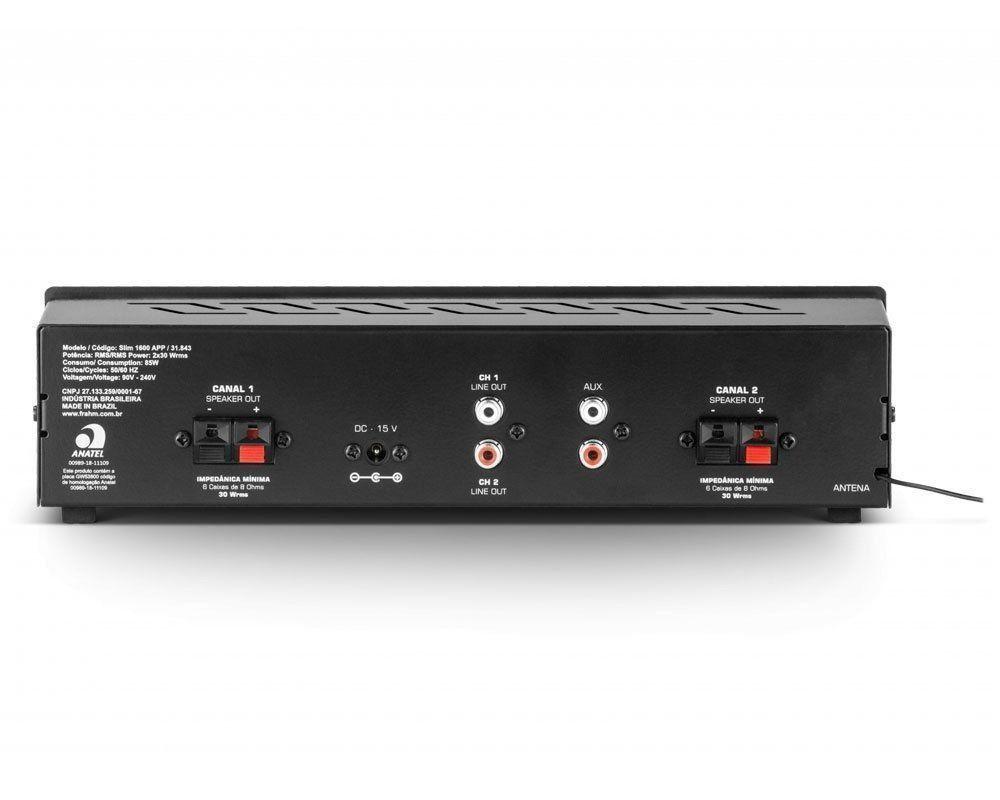Receiver Amplificador Frahm Slim 1600 APP com Par Caixas PS200 Branca