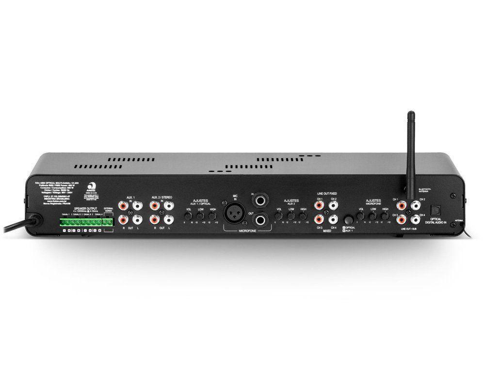 Receiver Amplificador Frahm Slim 4500 Optical Som Ambiente