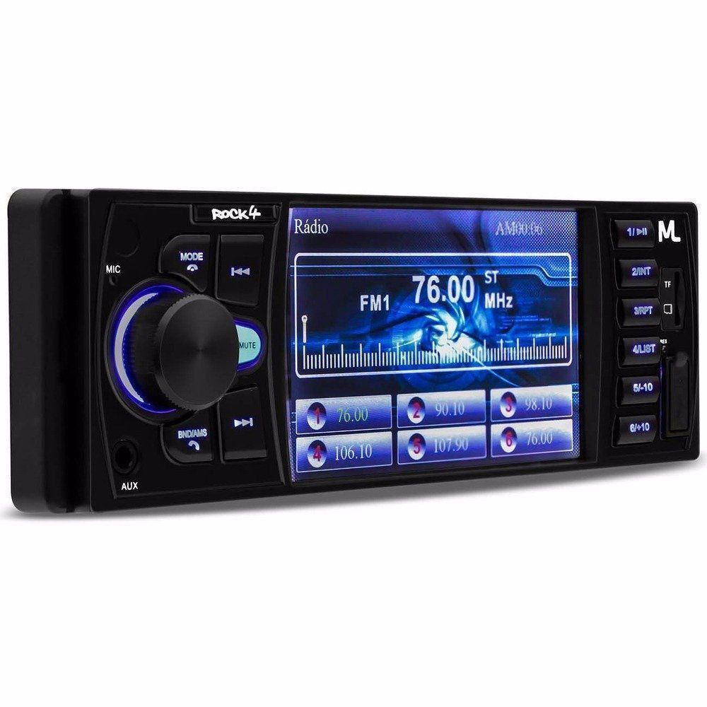Som Automotivo Rock 4 Mp5 Radio Dvd Bt Multilaser Tela 4p P3325