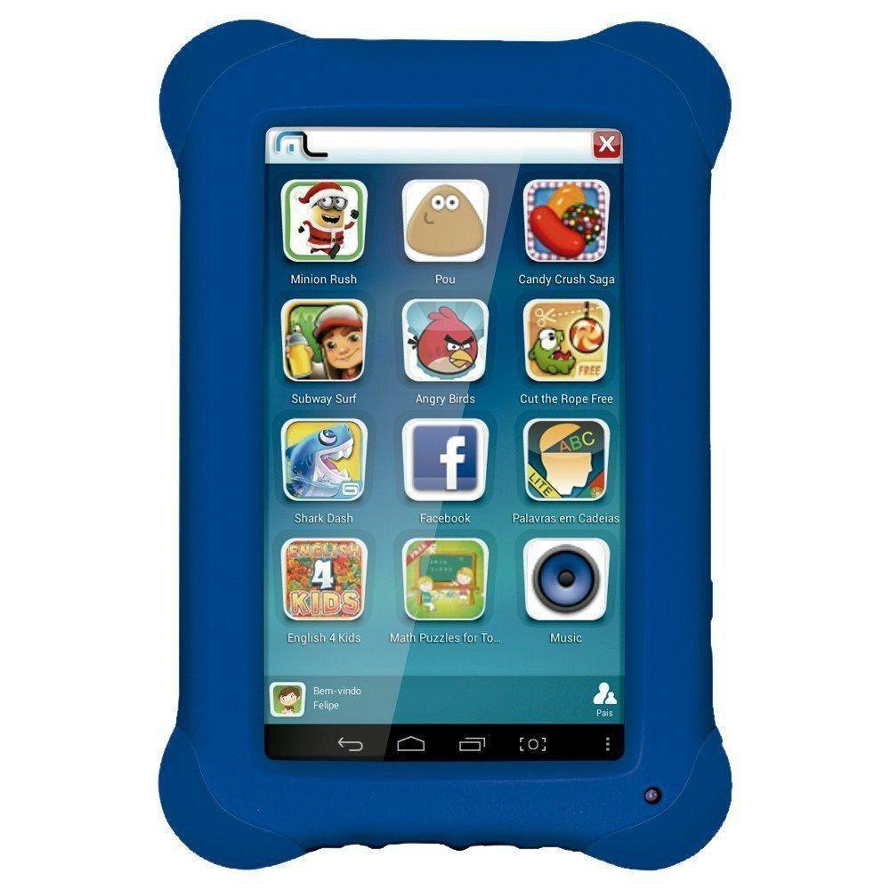 Tablet Infantil Para Criança Kid Pad Capa Emborrachada Azul
