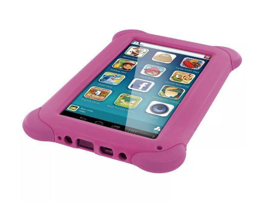 Tablet Para Criança Menina Com Jogo Multilaser Kid Pad Rosa
