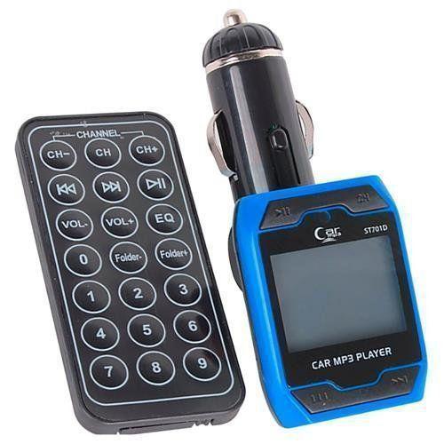 Transmissor Azul Veicular Radio Fm Para Entrada Usb E Cartão Sd