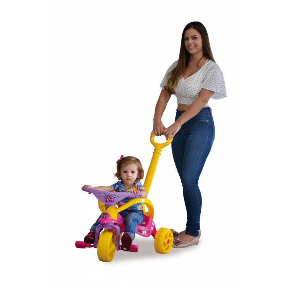 Triciclo da Minnie com Empurrador e Proteção