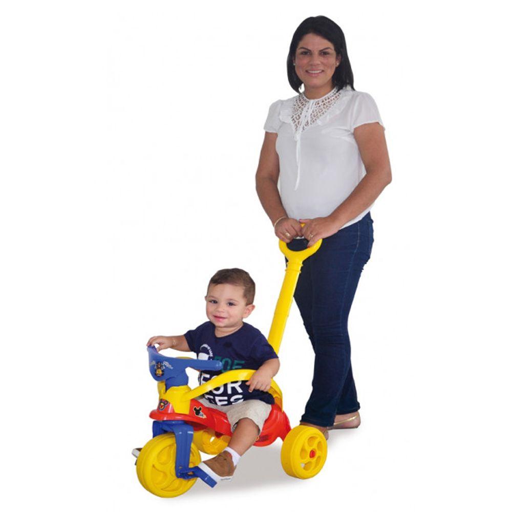 Triciclo do Mickey com Empurrador e Proteção
