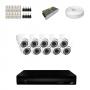 KIT 10 Câmeras Dome HD 720p + DVR 16 Canais 1080n + Acessórios