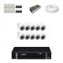 KIT 10 Câmeras Dome Infra 1200 Linhas + DVR Intelbras 16 Canais HD + Acessórios