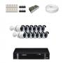KIT 12 Câmeras Alta Resolução AHD + DVR Intelbras 16 Canais HD + Acessórios