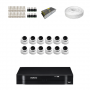KIT 12 Câmeras Dome AHD + DVR Intelbras 16 Canais HD + Acessórios