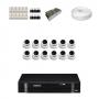 KIT 12 Câmeras Dome HD 720p + DVR Intelbras 16 Canais HD + Acessórios