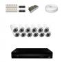 KIT 12 Câmeras Dome HD 720p + DVR 16 Canais 1080n + Acessórios