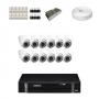 KIT 12 Câmeras Dome Infra 1200 Linhas + DVR Intelbras 16 Canais HD + Acessórios