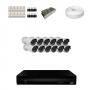 KIT 12 Câmeras HD 720p + DVR 16 Canais 1080n +  Acessórios