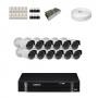 KIT 12 Câmeras Infra 1200 Linhas + DVR Intelbras 16 Canais HD + Acessórios
