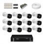 KIT 12 Câmeras Intelbras VHD 1120 B G5 + DVR Intelbras 16 Canais HD + Acessórios