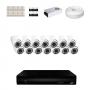KIT 14 Câmeras Dome HD 720p + DVR 16 Canais 1080n + Acessórios