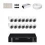 KIT 14 Câmeras Dome Infra 1200 Linhas + DVR Intelbras 16 Canais HD + Acessórios