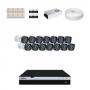 KIT 14 Câmeras Intelbras VHD 1220 B G4 + DVR Intelbras 16 Canais Full HD + Acessórios