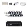 KIT 16 Câmeras Alta Resolução AHD + DVR Intelbras 16 Canais HD + Acessórios