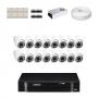 KIT 16 Câmeras Dome Infra 1200 Linhas + DVR Intelbras 16 Canais HD + Acessórios