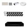 KIT 16 Câmeras HD 720p + DVR 16 Canais 1080n +  Acessórios