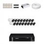 KIT 16 Câmeras HD 720p + DVR Intelbras 16 Canais HD + Acessórios