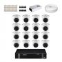 KIT 16 Câmeras Intelbras VHD 1120 D G5 + DVR Intelbras 16 Canais HD + Acessórios