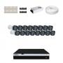 KIT 16 Câmeras Intelbras VHD 1220 B G4 + DVR Intelbras 16 Canais Full HD + Acessórios