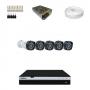 KIT 5 Câmeras Intelbras VHD 1220 B G4 + DVR Intelbras 8 Canais Full HD + Acessórios