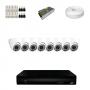 KIT 8 Câmeras Dome HD 720p + DVR 8 Canais 1080n + Acessórios